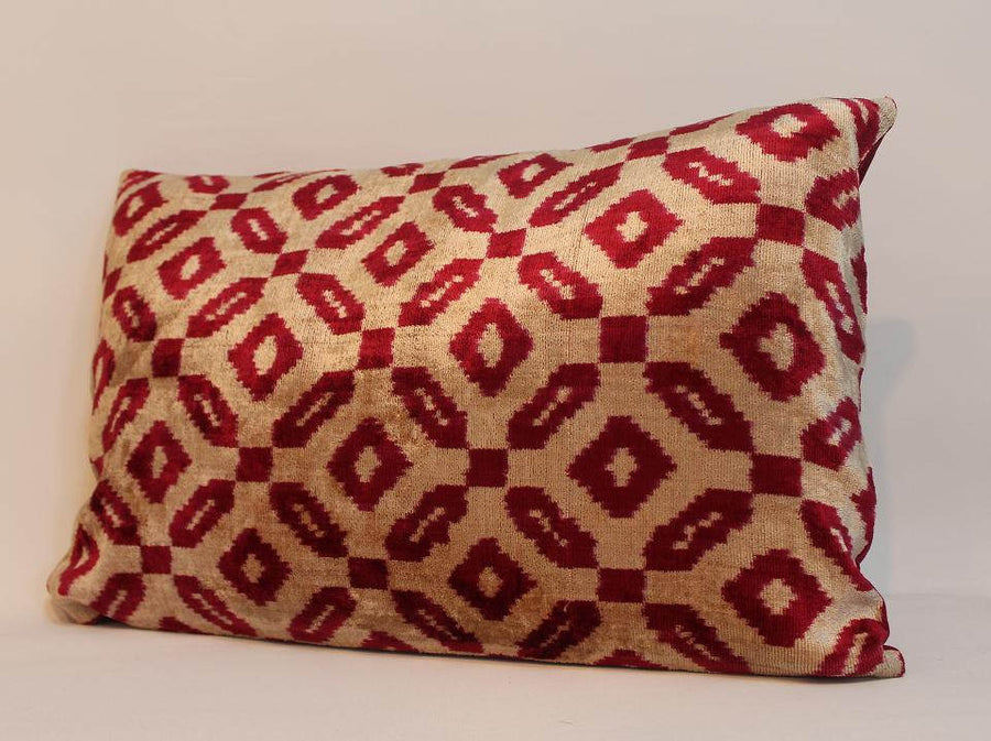 Velvet ikat Pillow - 16'' x 24'' Handmade Decorative Pillow,Traditional Ethnic Pillowcase, Modern Soft Decorative Pillow For Couch