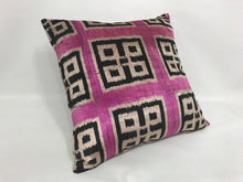 Load image into Gallery viewer, İkat Velvet Pillow Cover, 20'' x 20'' , İkat Velvet Square Pillow,  İkat Velvet Pillow Cover, 20'' x 20'' , İkat Velvet Square Pillow,