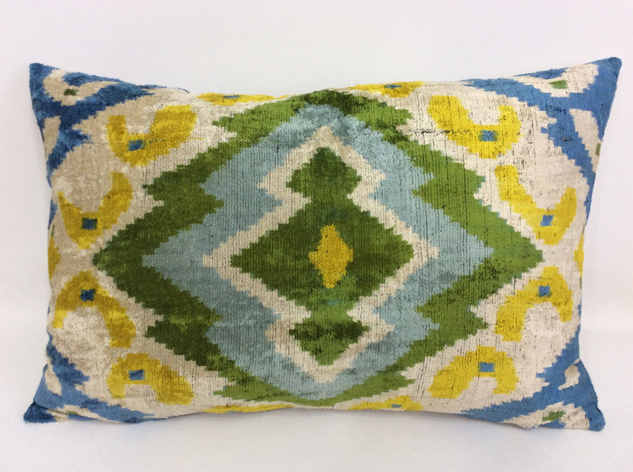 Richard Ikat velvet Pillow Case -  16'' x 24'' Decorative Pillows For