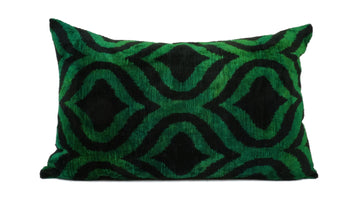 İkat Velvet Pillow Cover, 16'' x 24'' , Decorative Pillow, Handmade Silk Pillow, İkat Lumbar Pillow,  Shipping with Fedex 1-3 days