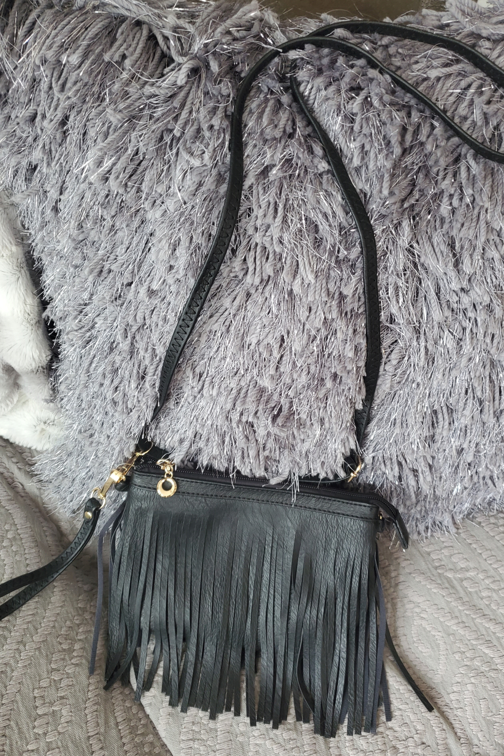 Black Fringed Crossbody