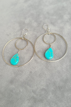Double Hoop & Turquoise Earrings