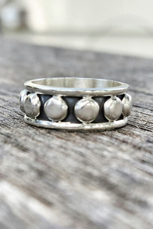 Sterling Silver Flat Ball Ring