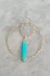 Hammered Double Hoop & Turquoise Earrings