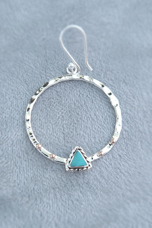 Hammered Turquoise + Copper Hoops