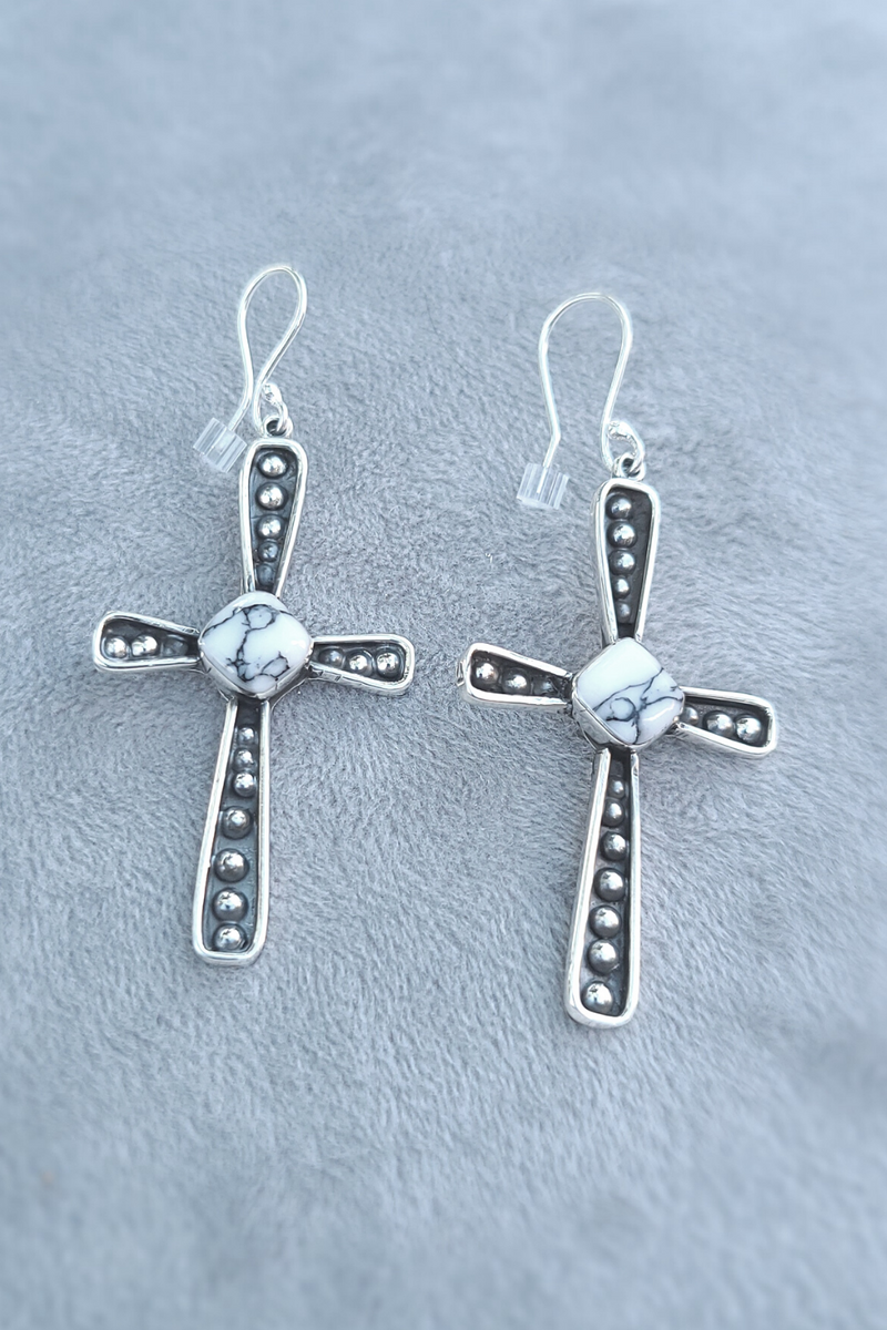 Howlite Cross Earrings