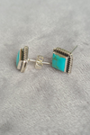 Sterling Silver & Turquoise Square Studs