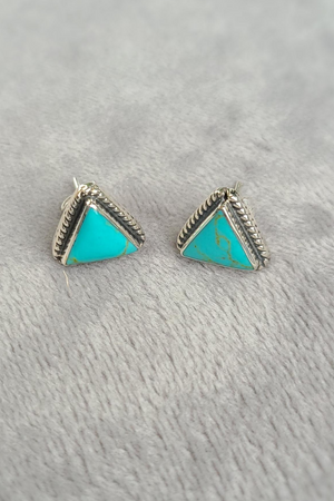 Sterling Silver & Turquoise Triangle Studs