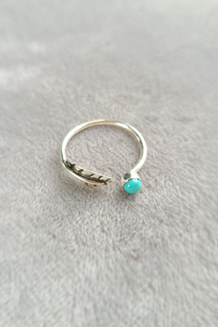 Turquoise + Feather Ring