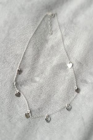 Sterling Silver Multi Heart Choker Necklace