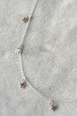 Sterling Silver Multi Star Choker Necklace