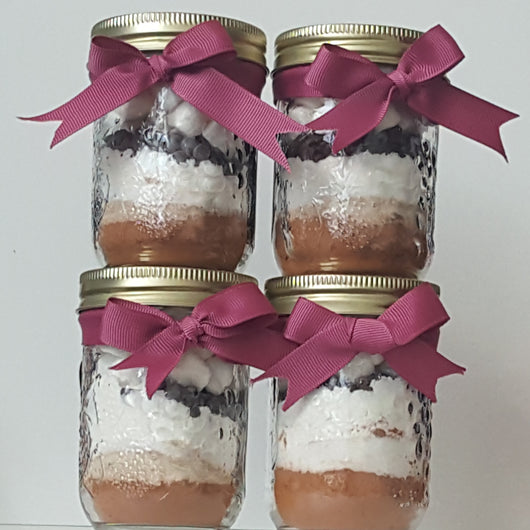 hot chocolate mix, recipe mix, mason jar mix, glass jar, cocoa powder coconut milk, sugar cane, mini chocolate chips, handmade with love, no added sugar, hot chocolate recipe, creative gift idea, easy recipe, simple ingredients, healthy food, eco friendly