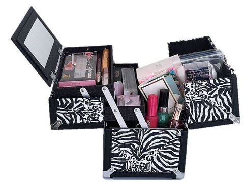 Zebra - Cosmetic Train Case with Mirror 2 Tray