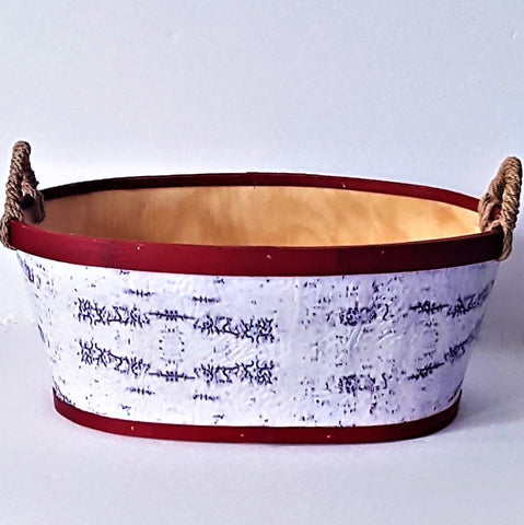 Custom-Medium Oval Basket Red & White