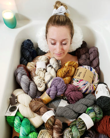 bathtub filled with yarn