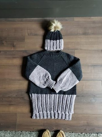 Lavender Dip Bundle (Sweater and Toque) - KNITTING PATTERNS