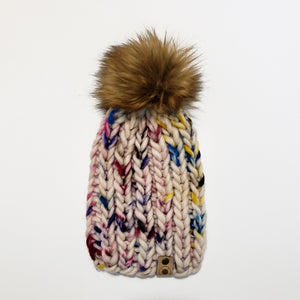 Chunky Ribbed Beanie - Hand Painted Multicolour