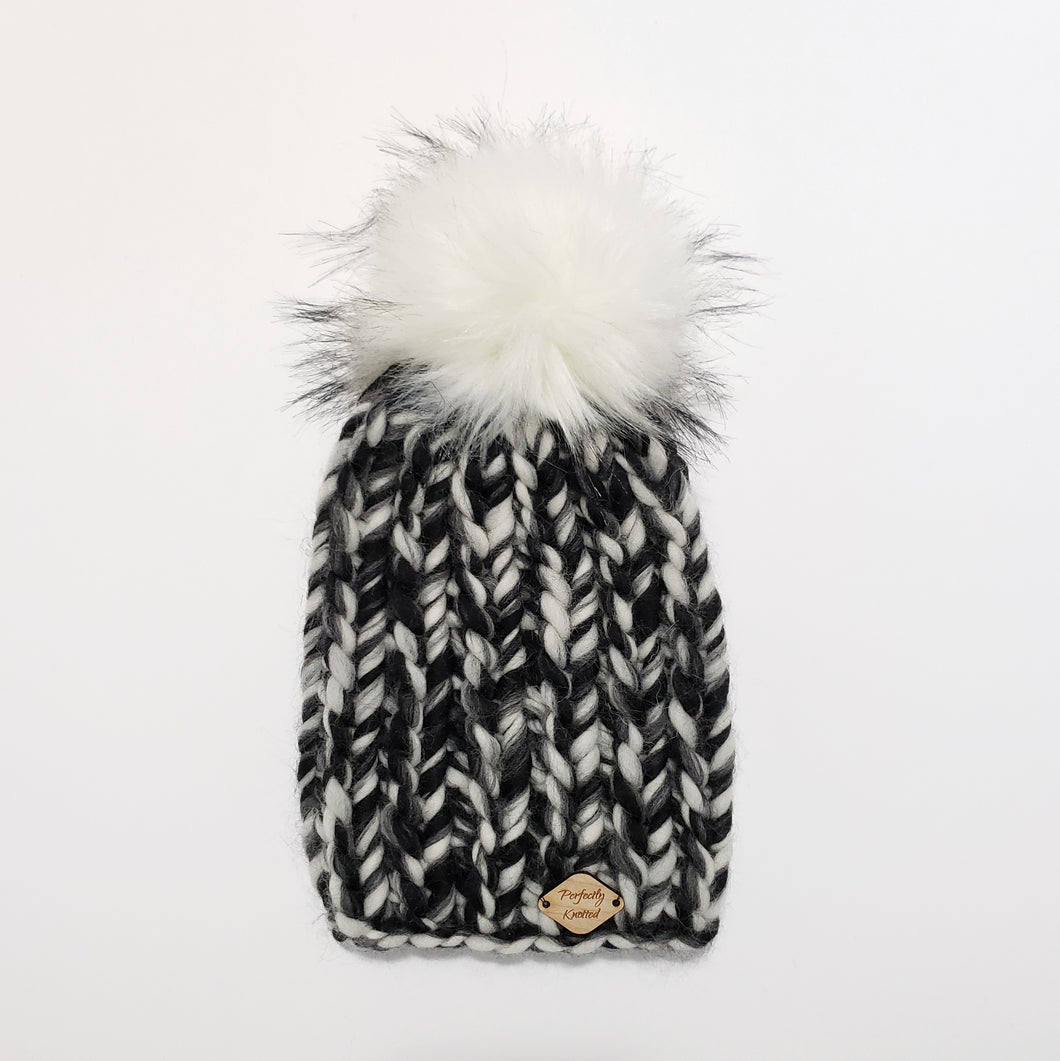 Chunky Ribbed Beanie - Black and White Tonal