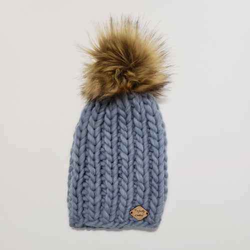 Chunky Ribbed Beanie - Blue Heather