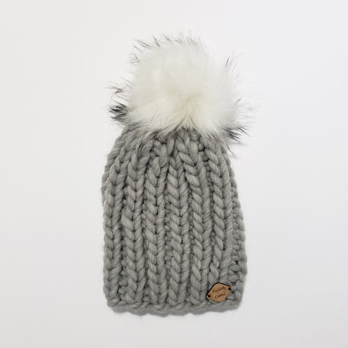 Chunky Ribbed Beanie - Grey Heather