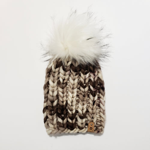 Chunky Ribbed Beanie - Brown and Cream Tonal
