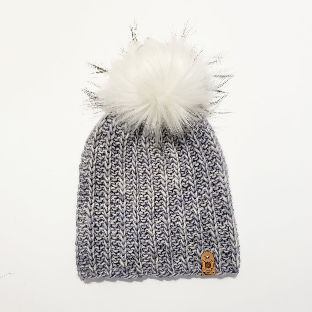 Ribbed Look Beanie - Blue/Grey