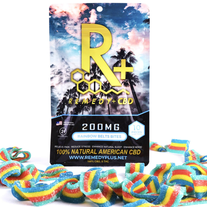 RemedyPlus CBD Edibles Pain Relief Rainbow Belt Bites 200mg