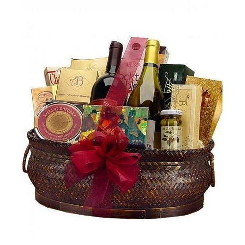 Gift Baskets - Deluxe Wine And Gourmet Basket-One Red & One White