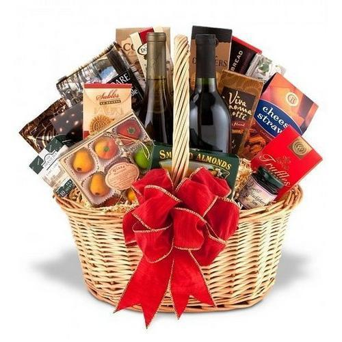 Gift Baskets - Fine Wine And Gourmet Basket-One Red & One White
