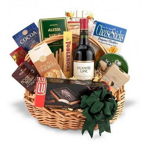 Gift Baskets - Traditional Wine And Gourmet Basket-Red Wine