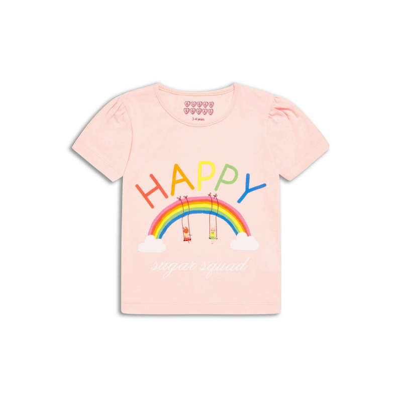 Tricou roz Happy, 6-7ani