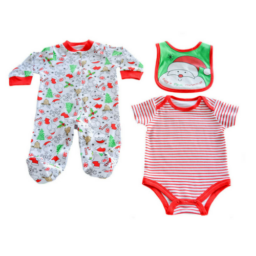 Set din 3 piese Baby's First Christmas, 3-6luni