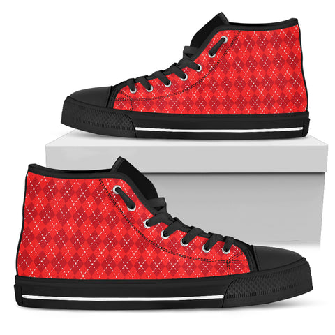 Red Argyle Womens High Top Shoes