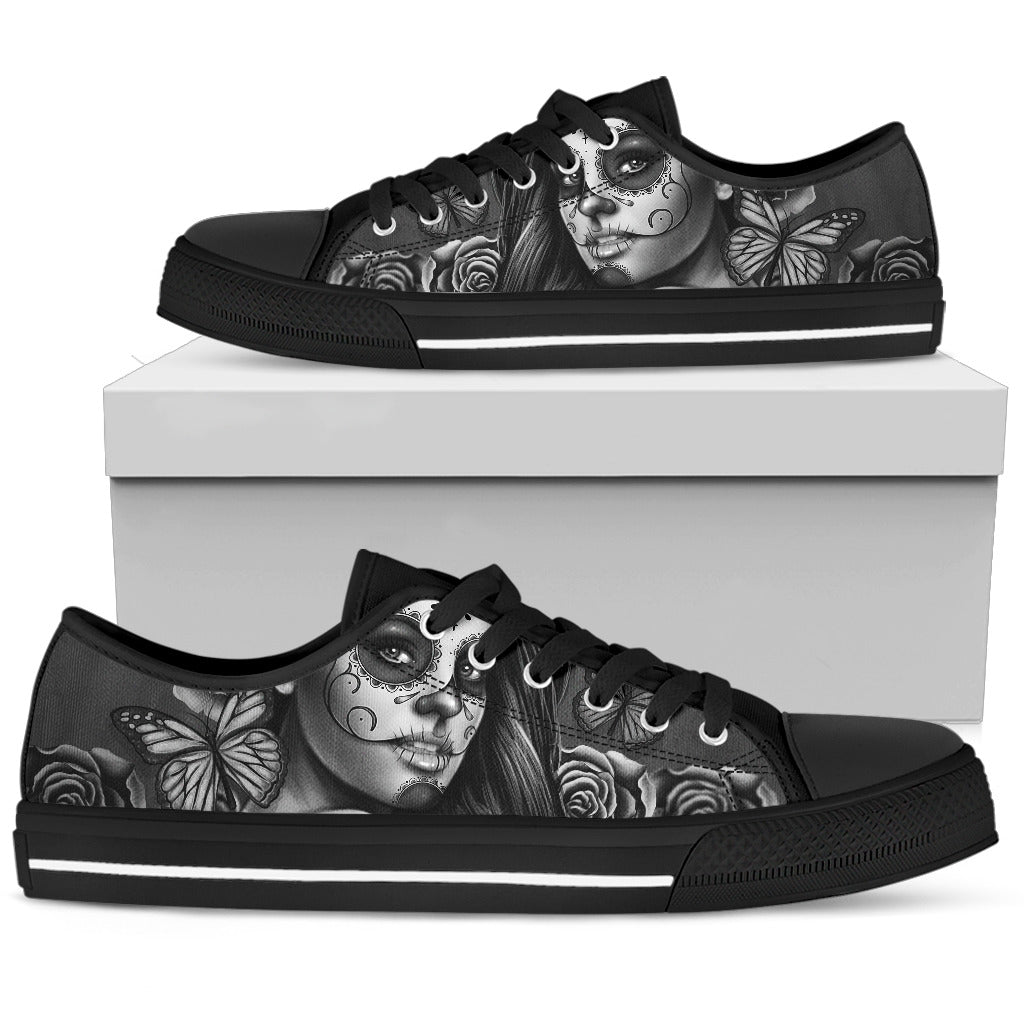 Women's Low Tops Calavera Gray (Black Soles)