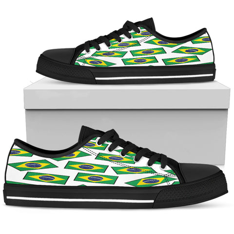 BRAZIL'S PRIDE! BRAZIL'S FLAGSHOE - Women's Low Top (white bg - black lace)