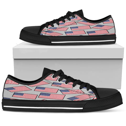 AMERICA'S PRIDE! AMERICA'S FLAGSHOE - Women's Low Tops (silver bg - black lace)