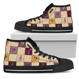 Classical Music Shoes. Womens High Top Canvas Black Sole