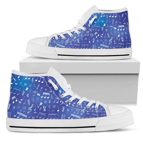 Blue Note Design Shoes. Womens High Top Canvas