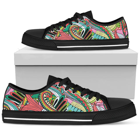 Funky Patterns in Greens - Women's Low Top Shoes (Black)