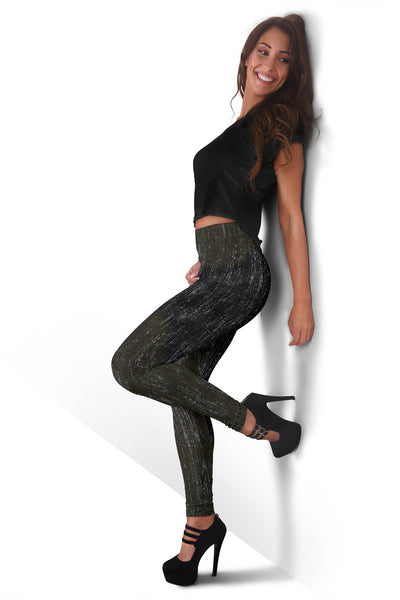 Distressed Camo Leggings With Grunge Camouflage