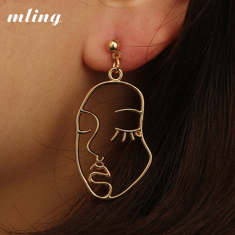 Uniquely Abstract Face Drop Earrings