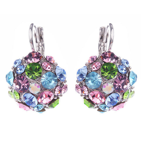 Crystal Flowers with Silver mounting earrings. All  Unique Colors in a  Drop Earrings