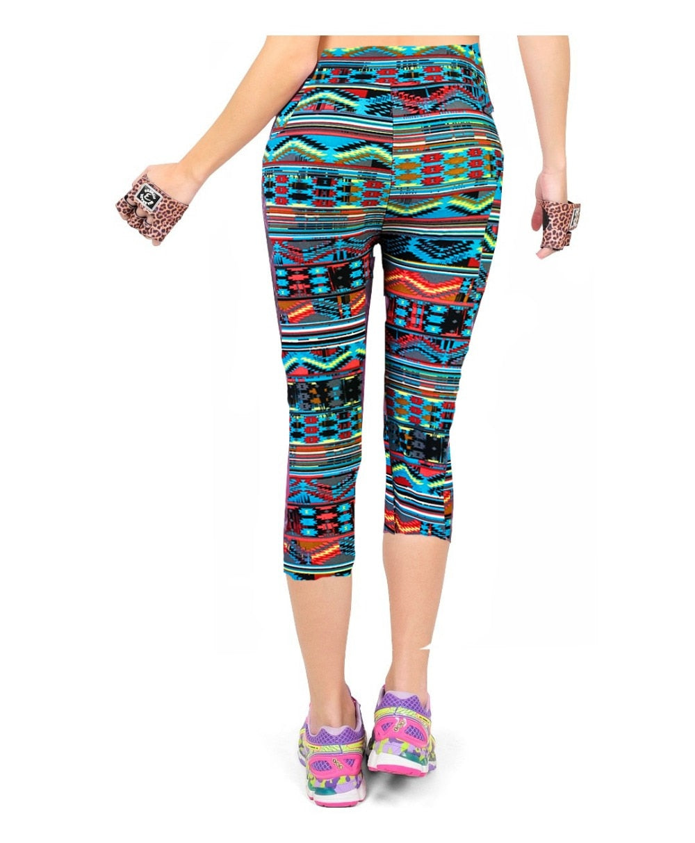 Radio Wave Floral Capris Workout Fitness Leggings