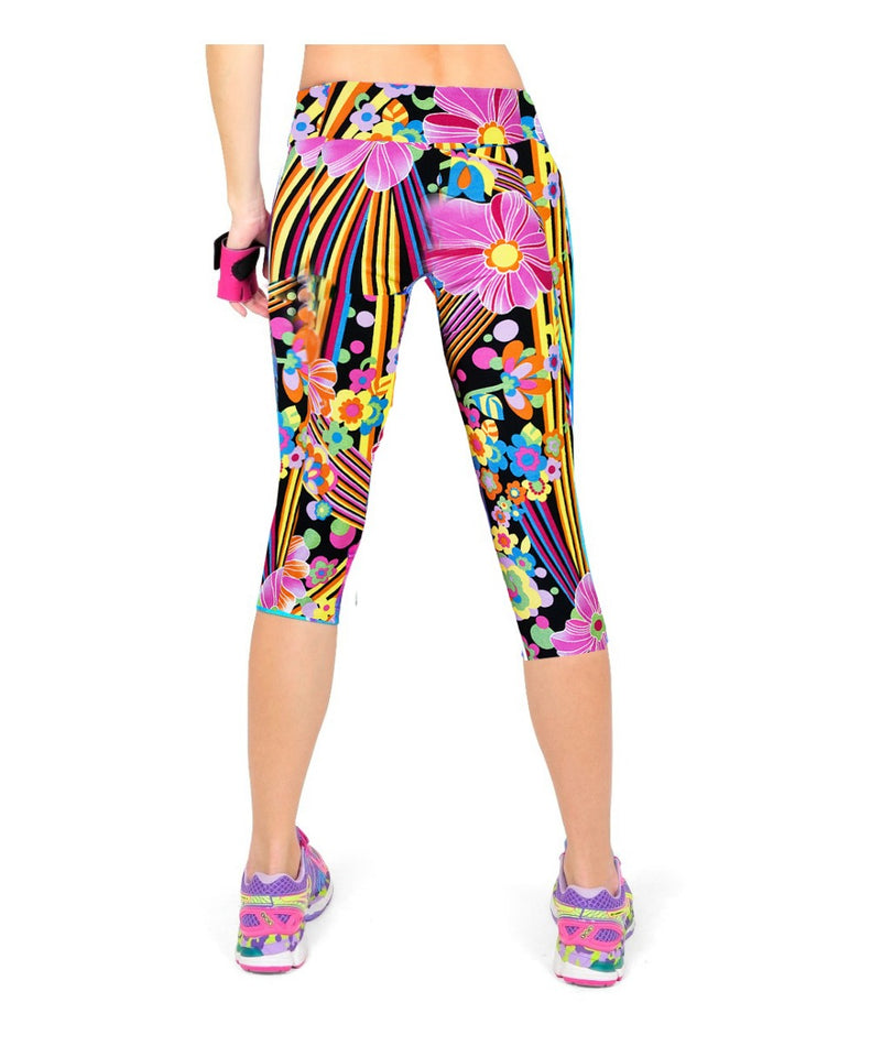 High Waist Printed Floral Capris Workout Fitness Leggings