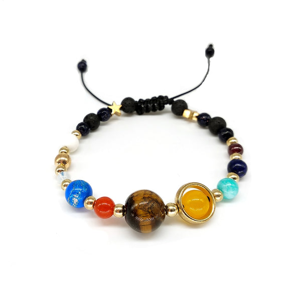 Wear the universe on your wrist. Each planet from Mercury to Neptune. A black hole to the Universe. This is a very unique bracelet