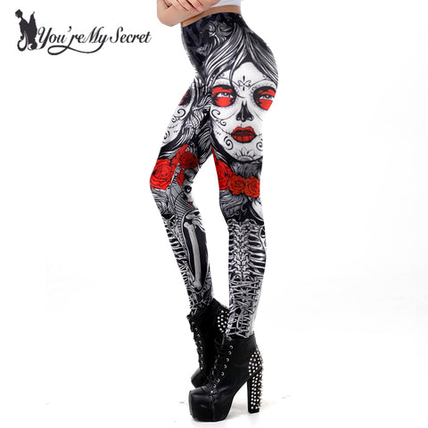 Halloween Sugar Skull Leggings With Roses