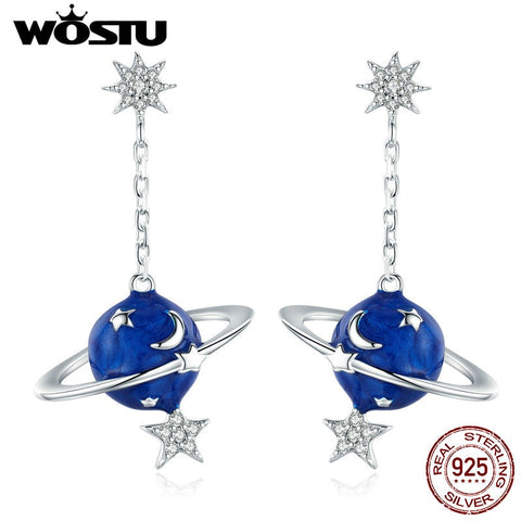 Sterling Silver Planet Stars Moon Drop Earrings