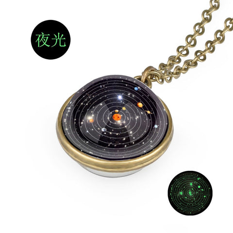 3D Double-sided Glass Solar System Necklace Unique and Hard to Find