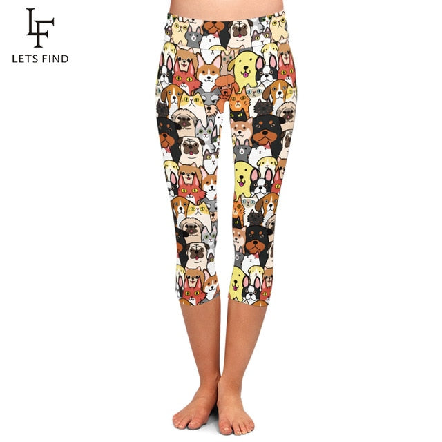 Seamless Cute Animals Cartoon Dogs Print Capris