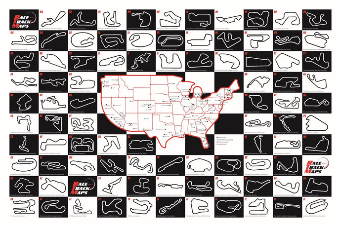 Race Track Map Poster Black and White 24x36